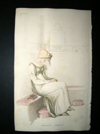 Ackermann 1810 Hand Col Regency Fashion Print. Morning Dress 4-23